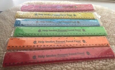 """New Smokey The Bear 12 Inch Plastic Ruler """"Help Smokey Prevent Forest Fires!"""""""
