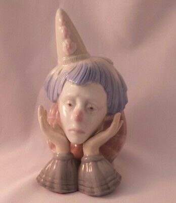 SAD FACE CLOWN HEAD FIGURINE Bust PASTEL BLUE COLORS Lladro Like UNHAPPY Hands