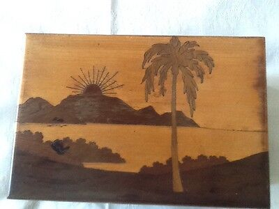 Vintage Wooden Marquetry Cigarette Box 1950S