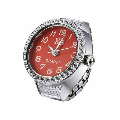 Red Classic Deluxe Silver Steel Case Elastic Finger Ring Watch Quartz Lady Girl