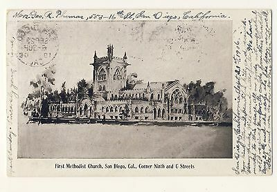 Vintage Postcard (1906) - First Methodist Church, San Diego, Cal. - Posted 1799