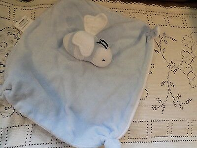 Burts Bees Baby Security Blanket Bumblebee Lovey Blue & White Adorable GUC