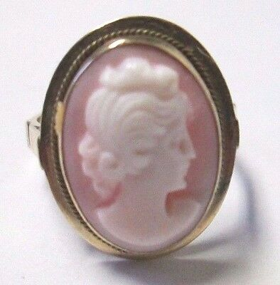 Antique Victorian Unmarked 10Kt Pink Cameo Ring Sz 3 3/4