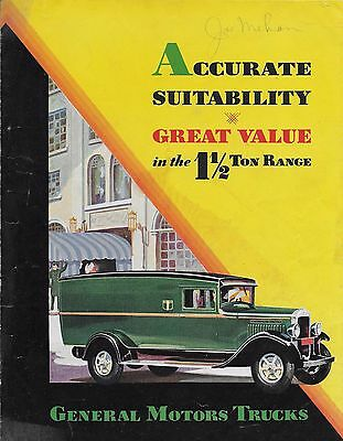 1930 GMC 1 1/2 Ton Truck 6 page Color Brochure