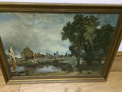 Vintage Large Dedham Lock And mill by John Constable Print Framed, Large