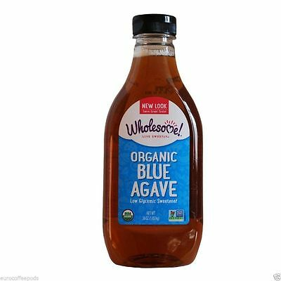 Wholesome Organic Raw Blue Agave Low Glycemic Sweetener 1.02kg 36 Oz Bottle