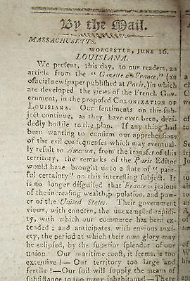 6/18/1802 Boston Newspaper ~ Colonization Of Louisianna ~ Caleb Strong Message