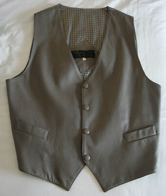 A New Gent's Grey Leather Waistcoat,size medium.