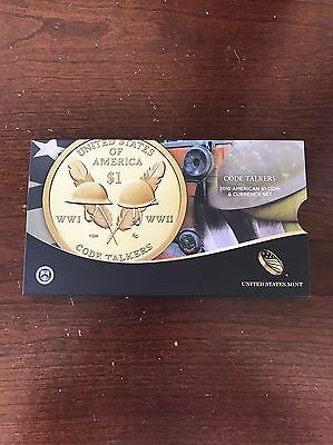 2016 US Mint $1 Coin and Currency Set Sacagawea Code Talkers 16RA Enhanced