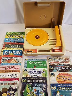 1978 Fisher Price Children's Record Player with 16 Record Books Bundle