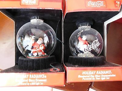 Coca-Cola Holiday Radiance Illuminated Glass Ornaments With Box Set of 2