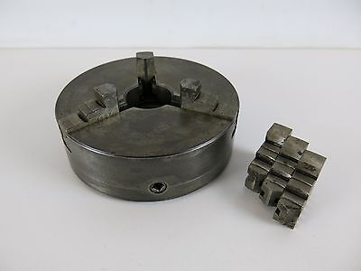 """Atlas Craftsman 6"""" 3 Jaw Chuck w/ Extra Jaws Made in England 1-1/2"""" x 8tpi"""