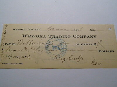 Wewoka  Trading Co. Indian Ter. Check