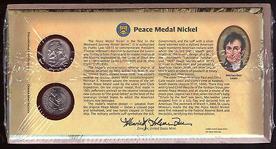 U S A Peace Medal Nickel X 2 Coins In Commemorative Folder.