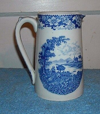 Staffordshire Hanley Silverdale Jug Pitcher Blue And White