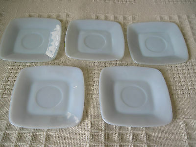 "5 LOVELY OPAQUE BLUE MILK GLASS SQUARE SAUCERS-LOOK UNUSED-VERY NICE-5.5""x5.5"""