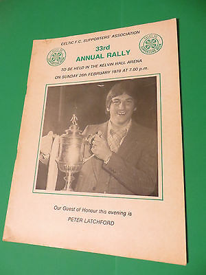 Celtic FC Supporters Association 33rd 1978 Annual Rally Programme