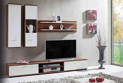 NEW Modern Living Room Furniture Set TV 4 WALL Unit Cabinet Cupboard WALNUT COLO