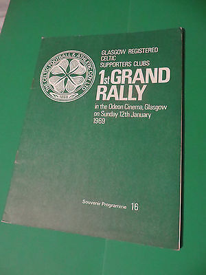 Celtic FC Supporters Clubs 1st Grand Rally Programme 1969