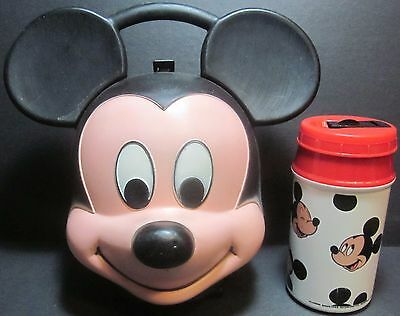 Mickey Mouse Aladdin Industries Plastic Figural Head Lunch Box & Thermos Bottle