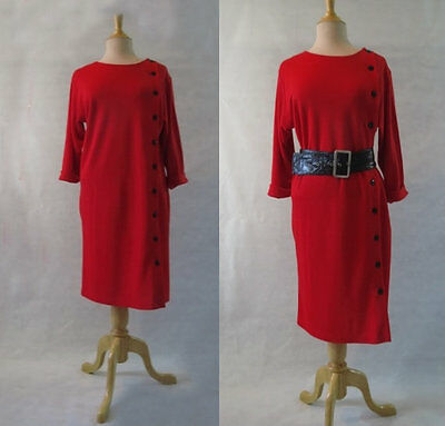 Vintage, Retro, Red Dress With Black Buttons - Early 1980s - Size12
