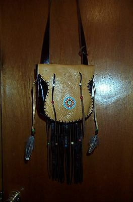 Black Powder, Mountain Man , Beaver Tail Rosette,  Leather Possible Bag