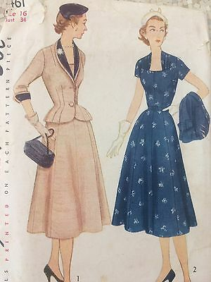 Vintage Original 40s 50s Womens Dress Sewing pattern , Pinup Simplicity bust 34