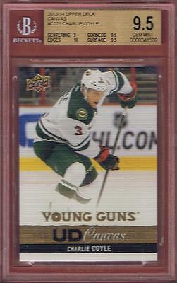 2013-14 Upper Deck Charlie Coyle Ud Canvas Young Guns Rookie Bgs 9.5 W/10 Rc Yg