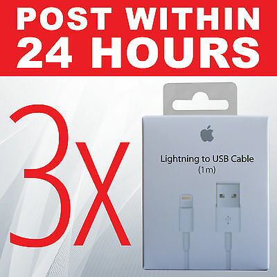 3X Genuine Original Lightning Data Cable Charger iPhone 5 iphone 5S 5C 6 6s iPad