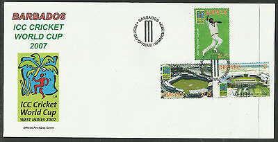 BARBADOS 2007 ICC CRICKET WORLD CUP Set of 3v FDC