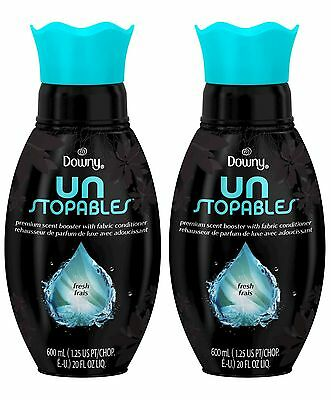 2 Downy Unstopables FRESH Premium Scent Booster Fabric Conditioner 20 fl oz ea