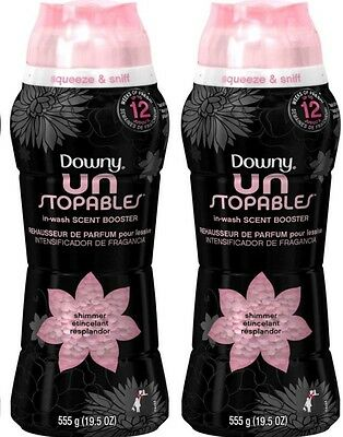 2 Downy Unstopables SHIMMER In-Wash Scent Booster 19.5 oz each