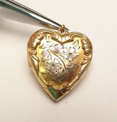 Antique Etched Swirl Heart Love Locket Gold Filled Charm Pendant Original Photo