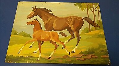 Vintage paint by number horses