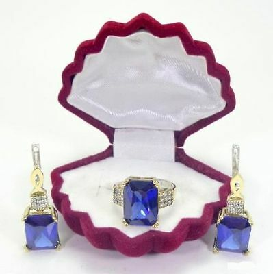 925 Sterling Silver Handcraft Turkish Jewelry Blue Sapphire Earrings & Ring Set