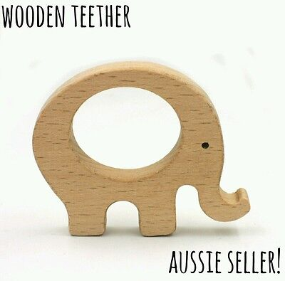 Wood natural organic wooden teether baby teething large ring elephant dummy chew