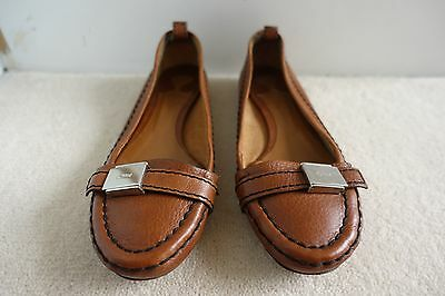 Chloe Black Stitch Embossed Silver Buckle Tan Leather Shoes Loafers Flats sz 38