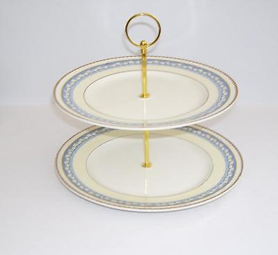 Vintage Portland Pottery Cobridge Ribbon Edge 2 Tier Cake Stand.