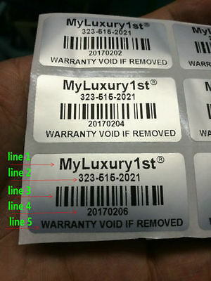 300 Custom print warranty sticker polyester label VOID security seals 1.5 X0.78""