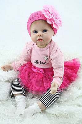 "Muñecas Reborn Realistic 22"" Soft Silicone Reborn Baby Doll Kids Christmas Gift"