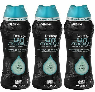 3 Downy Unstopables FRESH SCENT In-Wash Scent Booster 19.5 oz each