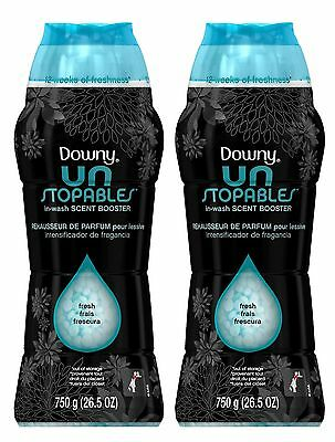 2 Downy Unstopables FRESH SCENT In-Wash Scent Booster 26.5 oz each
