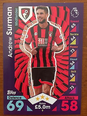 Match Attax 2016/2017, #9 Andrew Surman, Bournemouth Trading Card