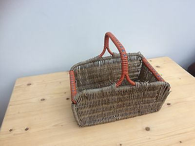 Vintage Wicker Shopping Basket – Red and Blue Plastic Trim - Vintage Condition