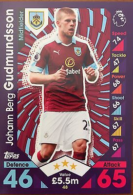 Match Attax 2016/2017, #48 Johann Berg Gudmundsson, Burnley Trading Card