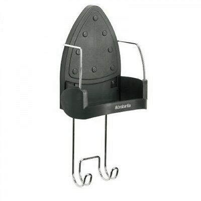 Brabantia Wall-Mounted Iron Rest and Hanging Ironing Board Holder - Cool Gray,