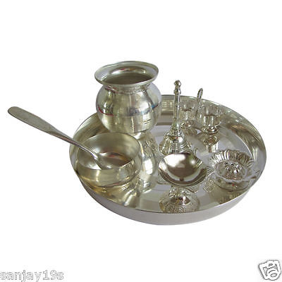 Silver Finished Plated Pooja Thali Set With 7 Puja Items For Puja,religious Gift