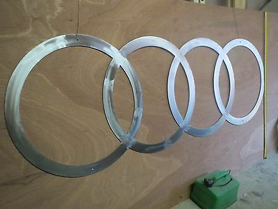 Audi logo sign. signage, stainless steel, advertising, badge, collectable