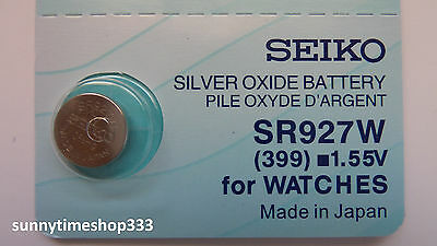 SR927W/399, Seiko Watch Battery, Made in Japan, Silver Oxide, 1.55V