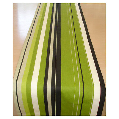 """Coffee Table Runner 4ft Kiwi Green Black Grey and White Stripes 48"""" Lime 120cm"""